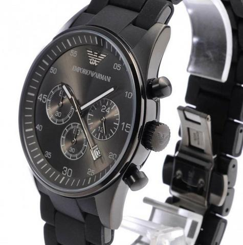 Emporio Armani Sportivo Mens Black Dial Chronograph Stainless Steel Watch AR5889 Thumbnail 6