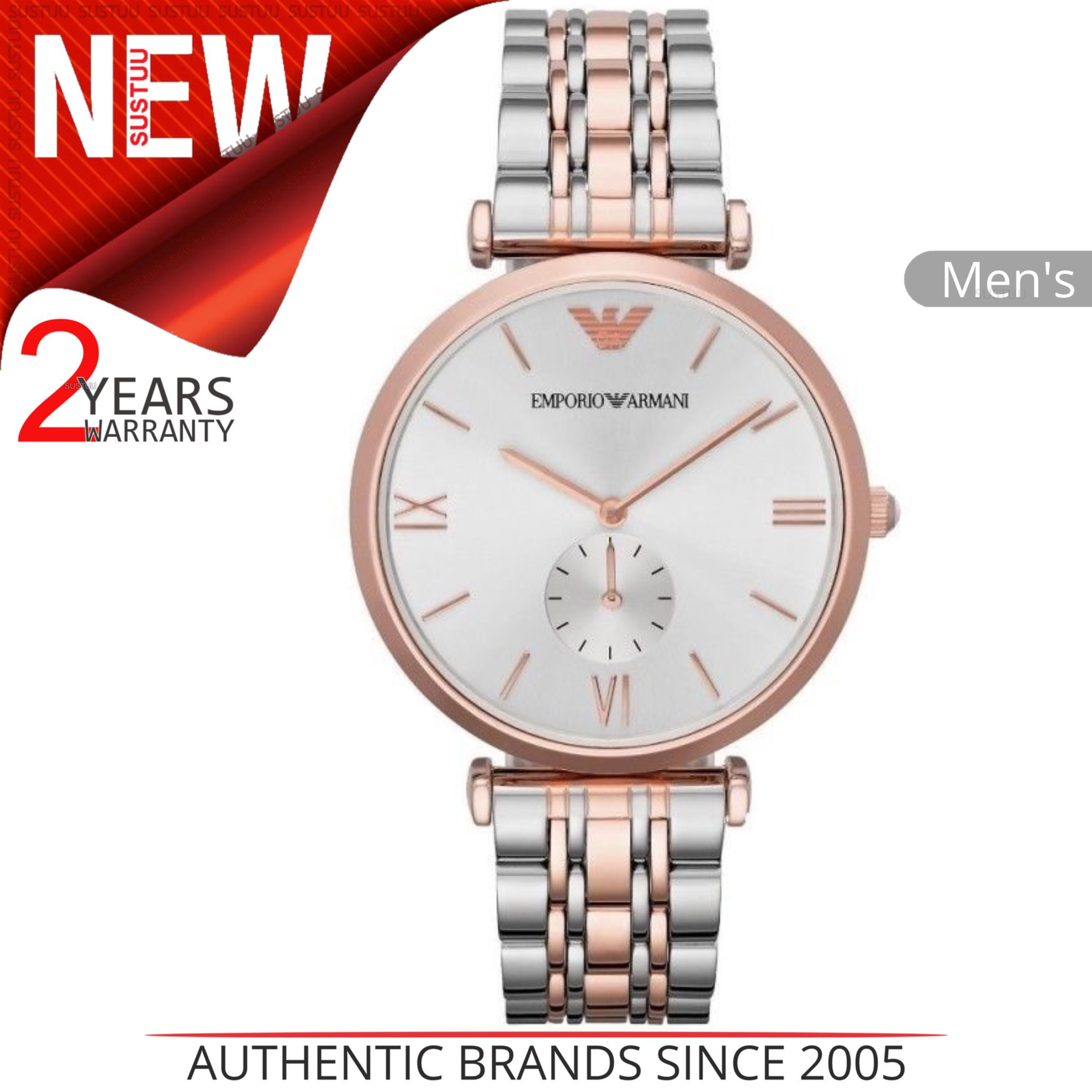 2d1a060332e Details about Emporio Armani Men s Watch│Silver Dial│Stainless Steel Rose  Gold Bracelet│AR1677
