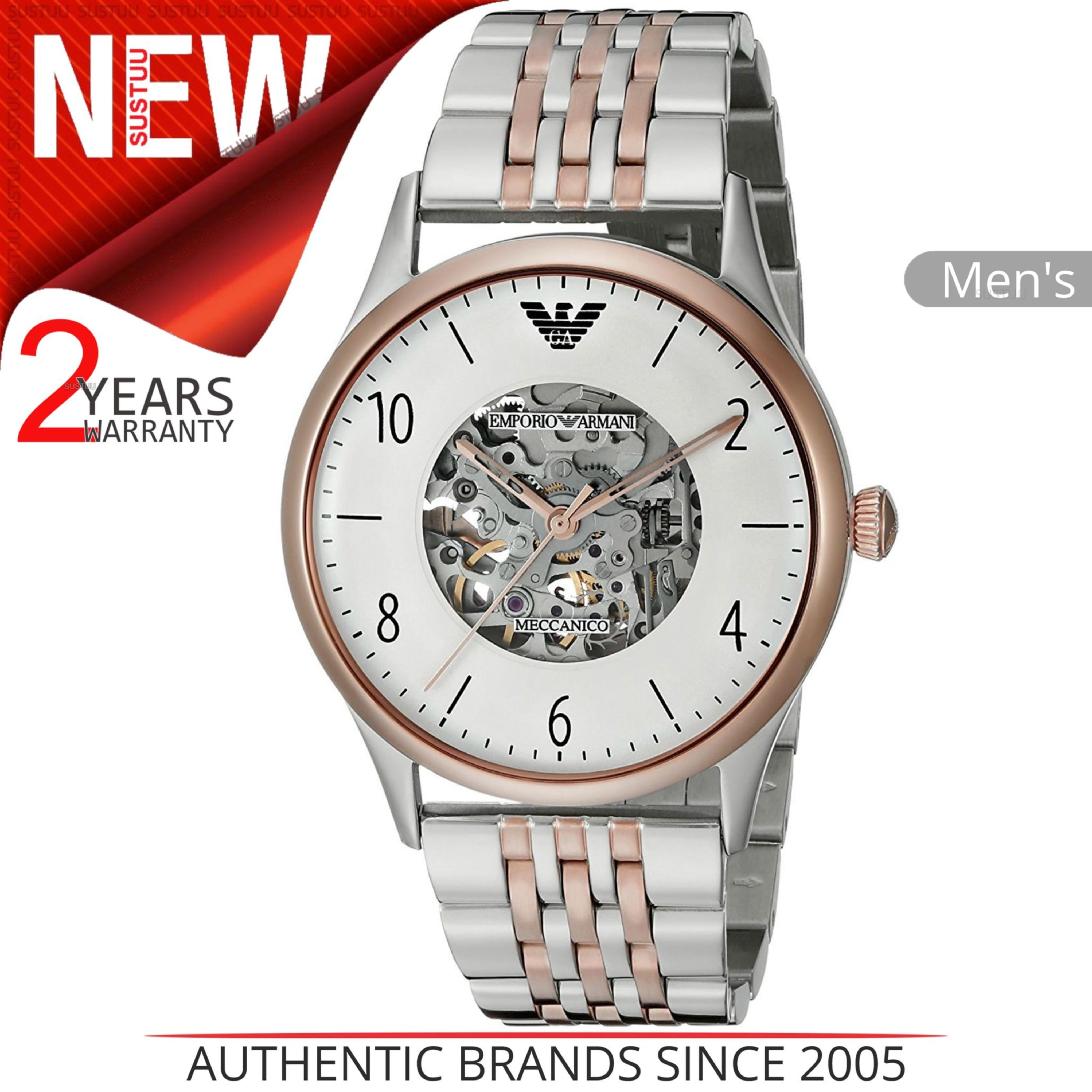 Emporio Armani Mens Watch Transparent Analog Dial Dual Tone Bracelet Band AR1921