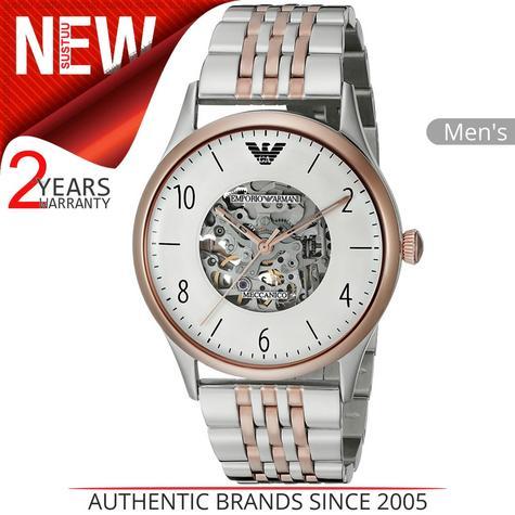 Emporio Armani Mens Watch Transparent Analog Dial Dual Tone Bracelet Band AR1921 Thumbnail 1