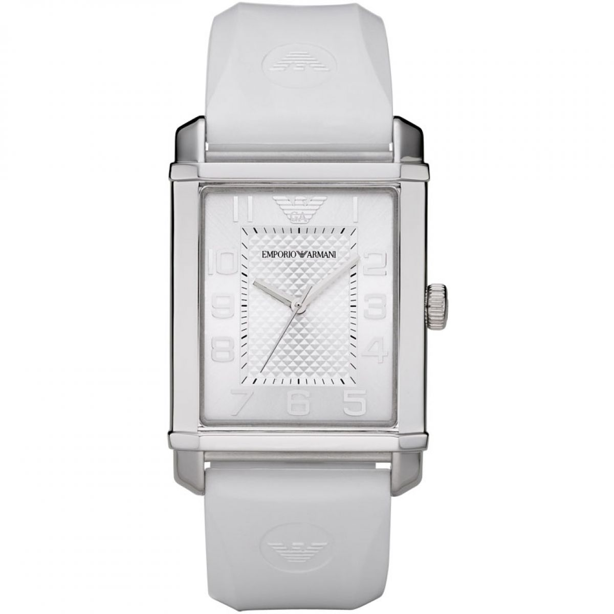 Emporio Armani Classic Stainless Steel White Dial Rubber Strap Unisex Watch