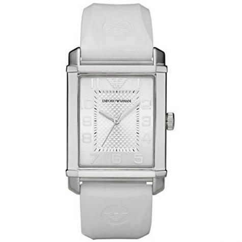 Emporio Armani Classic Stainless Steel White Dial Rubber Strap Unisex Watch Thumbnail 1