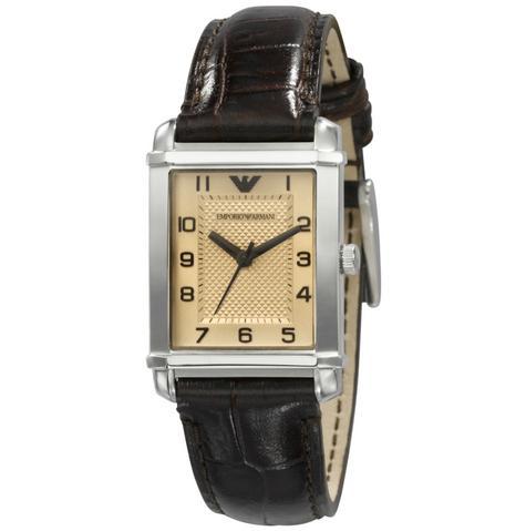 Emporio Armani Marco Small Women's Brown Leather Strap Analog Wrist Watch AR0491 Thumbnail 1