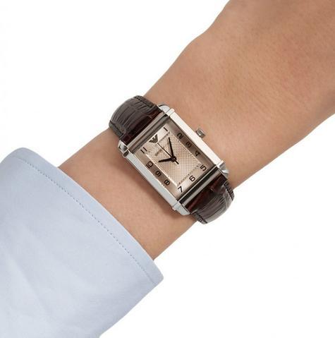 Emporio Armani Marco Small Women's Brown Leather Strap Analog Wrist Watch AR0491 Thumbnail 4