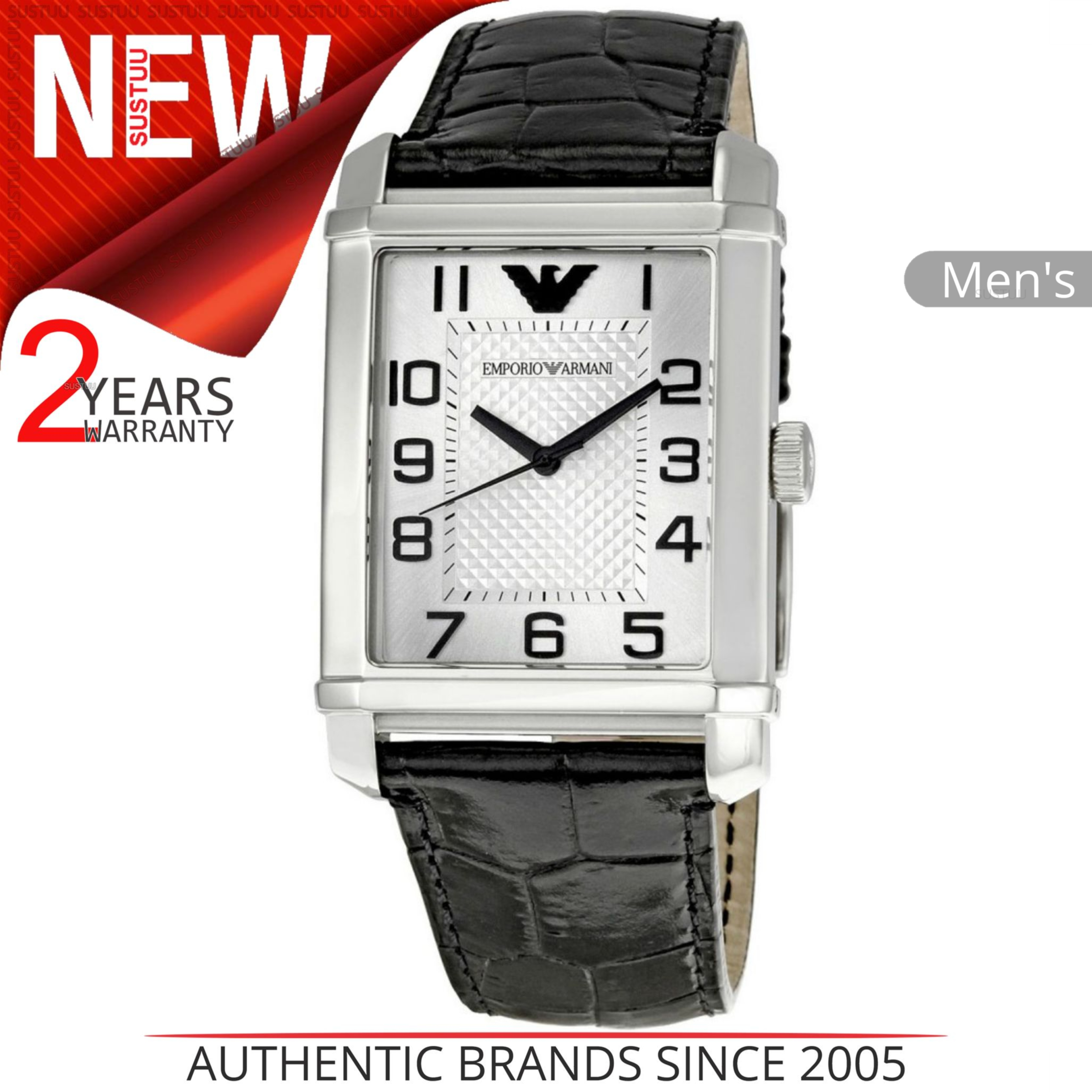 Details about Emporio Armani Mens Watch│Stainless Steel Silver Dial│Black  Leather Strap│AR0487 509c16226b