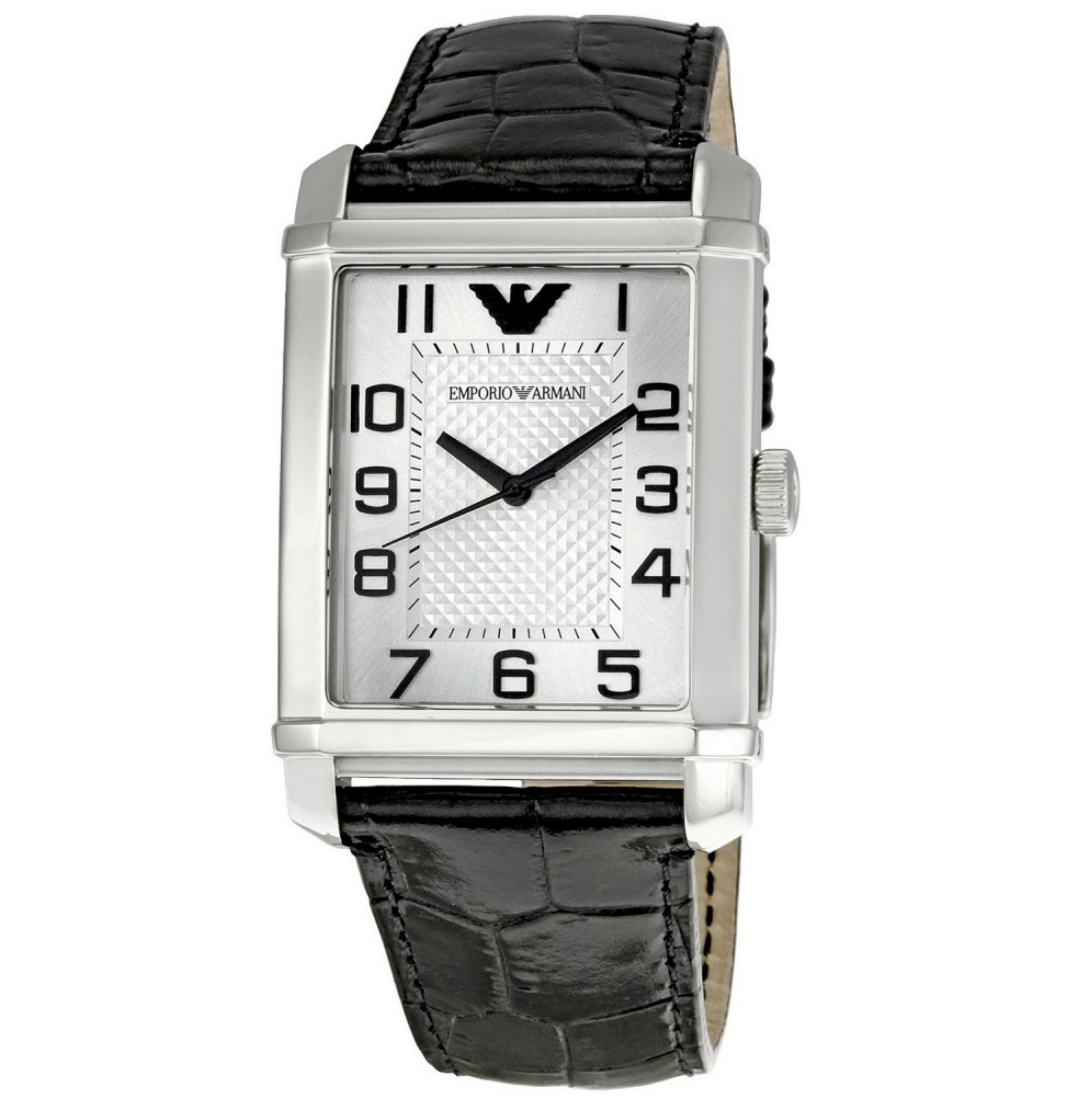 Emporio Armani Macro Silver Gent's Stainless Steel Leather Strap Watch AR0487