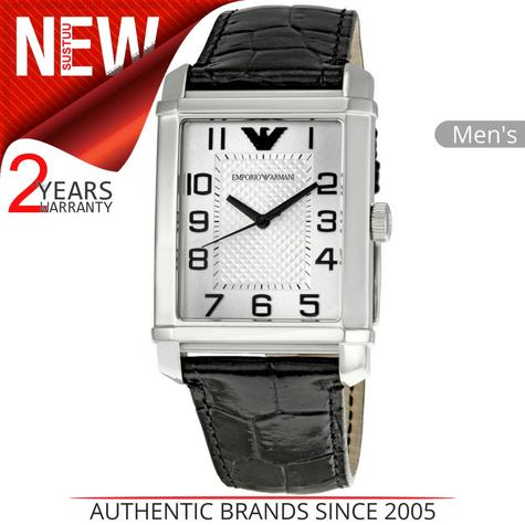 Emporio Armani Mens Watch Stainless Steel Silver Dial Black Leather Strap AR0487 Thumbnail 1