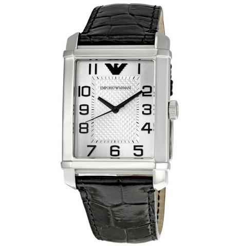 Emporio Armani Macro Silver Gent's Stainless Steel Leather Strap Watch AR0487 Thumbnail 1
