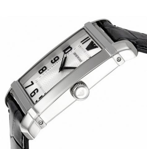 Emporio Armani Macro Silver Gent's Stainless Steel Leather Strap Watch AR0487 Thumbnail 2