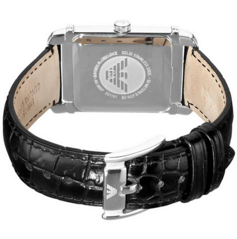 Emporio Armani Macro Silver Gent's Stainless Steel Leather Strap Watch AR0487 Thumbnail 3