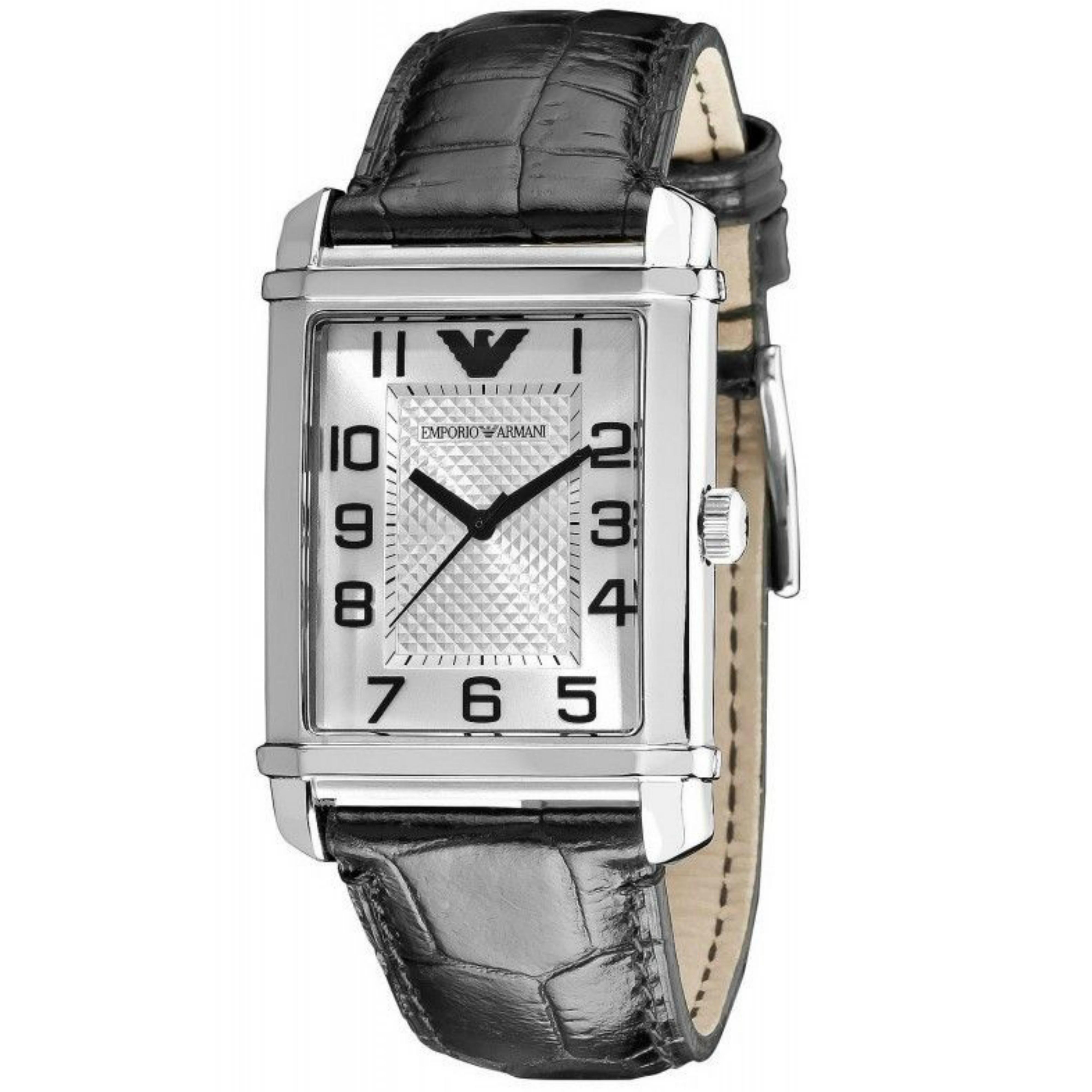 Emporio Armani Mens Classic Silver Dial Black Leather Strap Quartz Watch AR0486