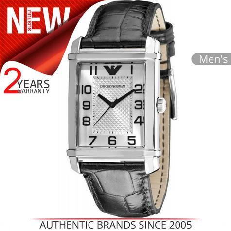 Emporio Armani Classic Men's Formal Watch|Silver Dial|Black Leather Strap|AR0486 Thumbnail 1