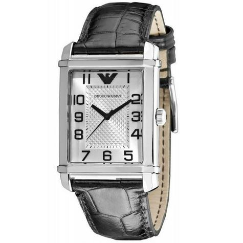 Emporio Armani Classic Men's Formal Watch|Silver Dial|Black Leather Strap|AR0486 Thumbnail 2