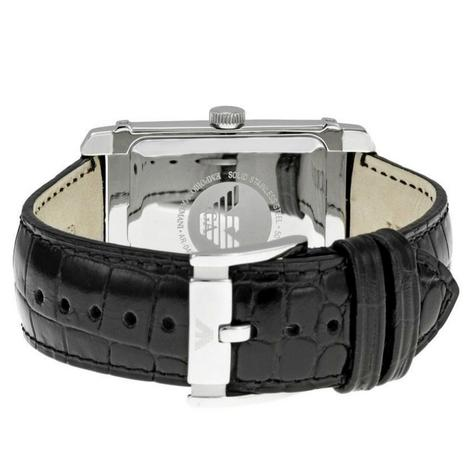 Emporio Armani Classic Men's Formal Watch|Silver Dial|Black Leather Strap|AR0486 Thumbnail 4