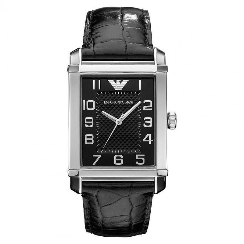 Emporio Armani Men's Classic Black Dial Leather Strap Analog Watch-AR0362