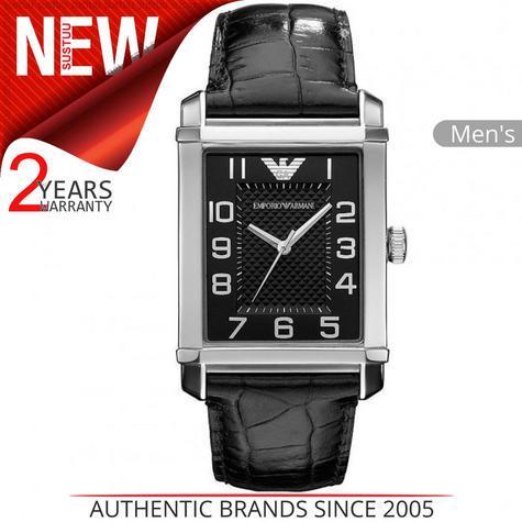Emporio Armani Classic Men's Analog Watch|Black Dial|Black Leather Strap|AR0362 Thumbnail 1