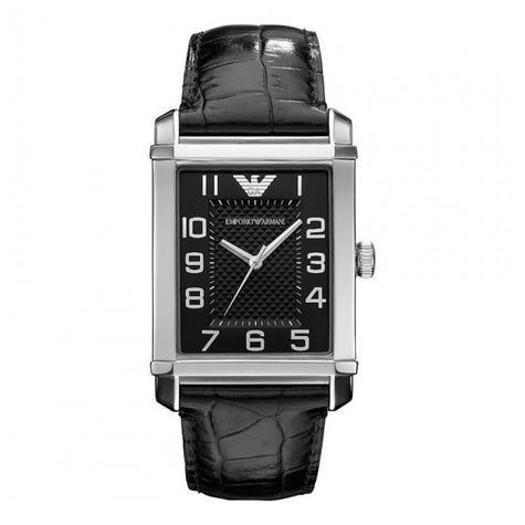 Emporio Armani Classic Men's Analog Watch|Black Dial|Black Leather Strap|AR0362 Thumbnail 2