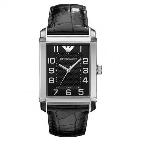 Emporio Armani Men's Classic Black Dial Leather Strap Analog Watch-AR0362 Thumbnail 1