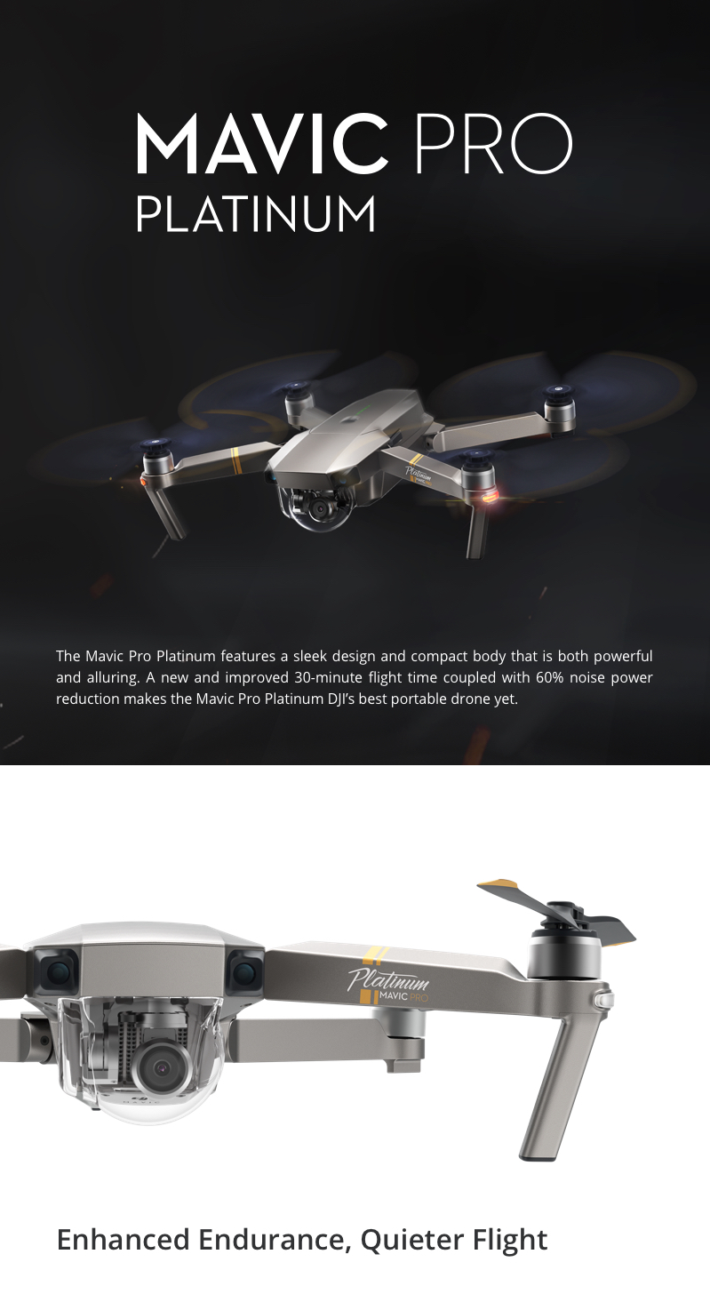 New DJI Mavic Pro Platinum Drone|4K Camera|12MP|HD 1080p|5 ...