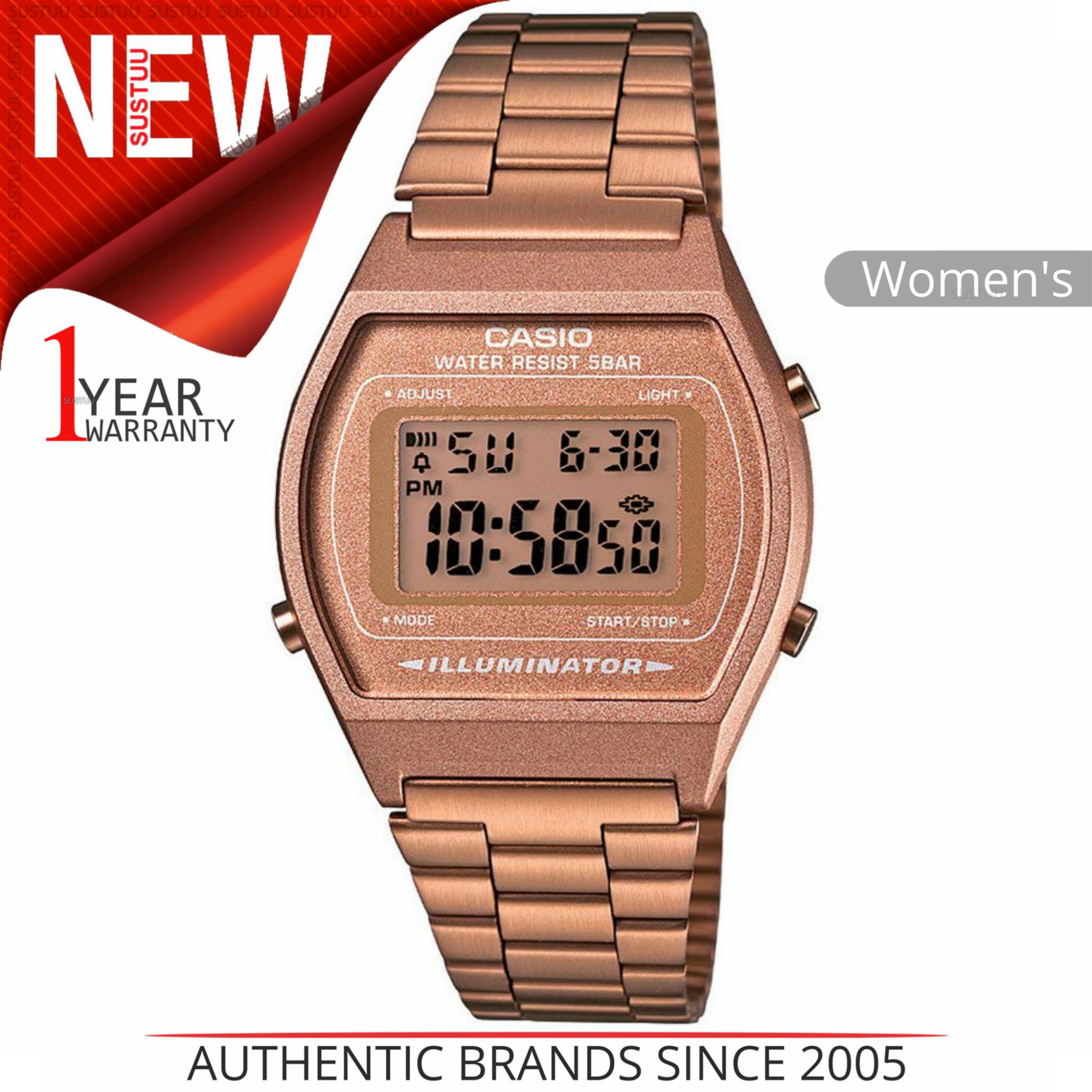 f731e786e51b CENTINELA Watch│Stainless Digital de damas Casio clásico acero Band│Rose  Gold│B640WC