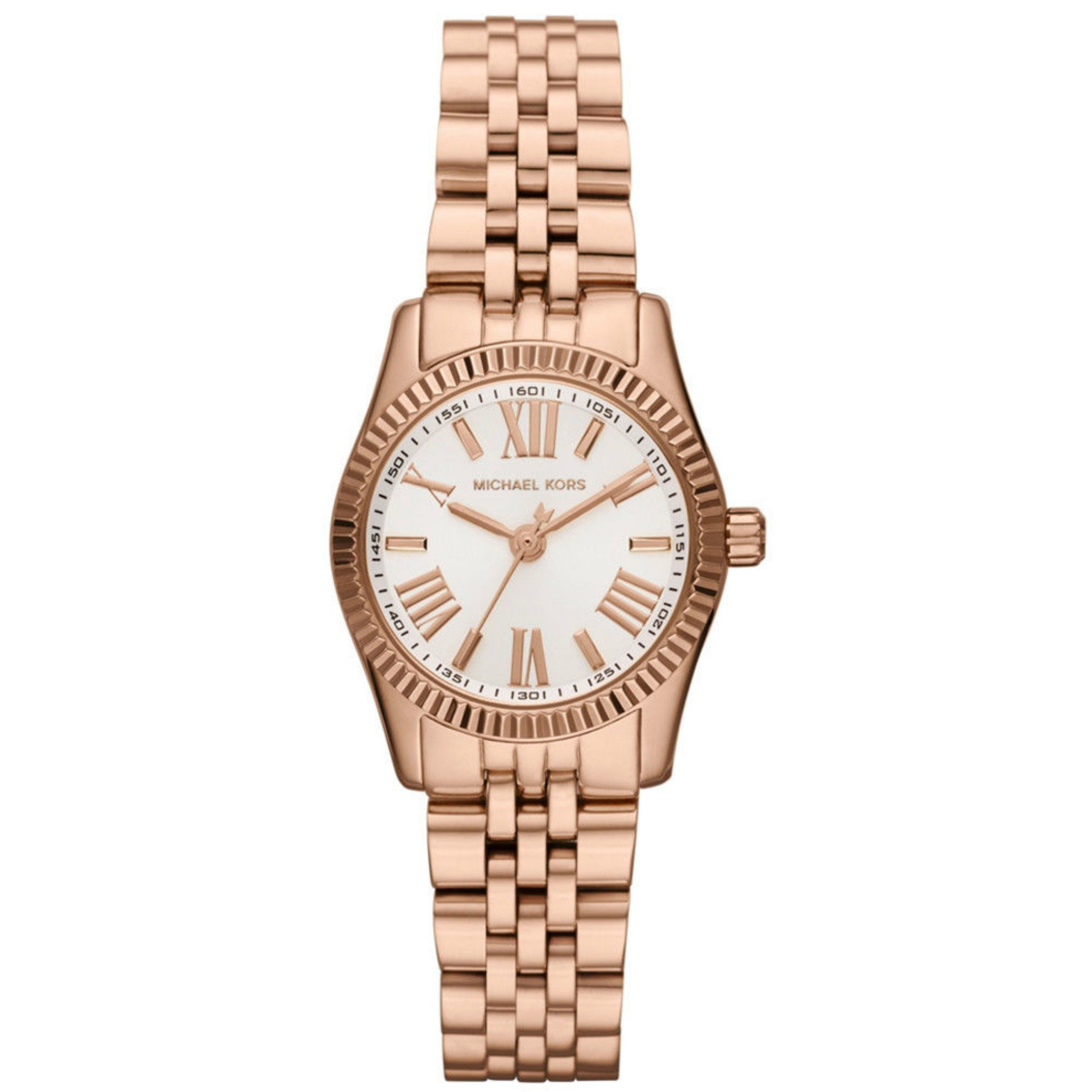 Michael Kors Lexington White Dial Rose Gold Bracelet Design Ladies Watch MK3230