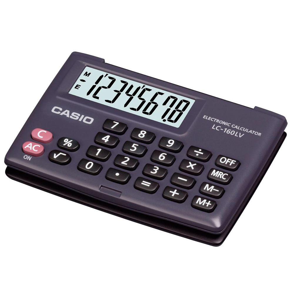 Casio LC160LV Pocket Calculator Large Display & Flip Cover Case Battery Powered