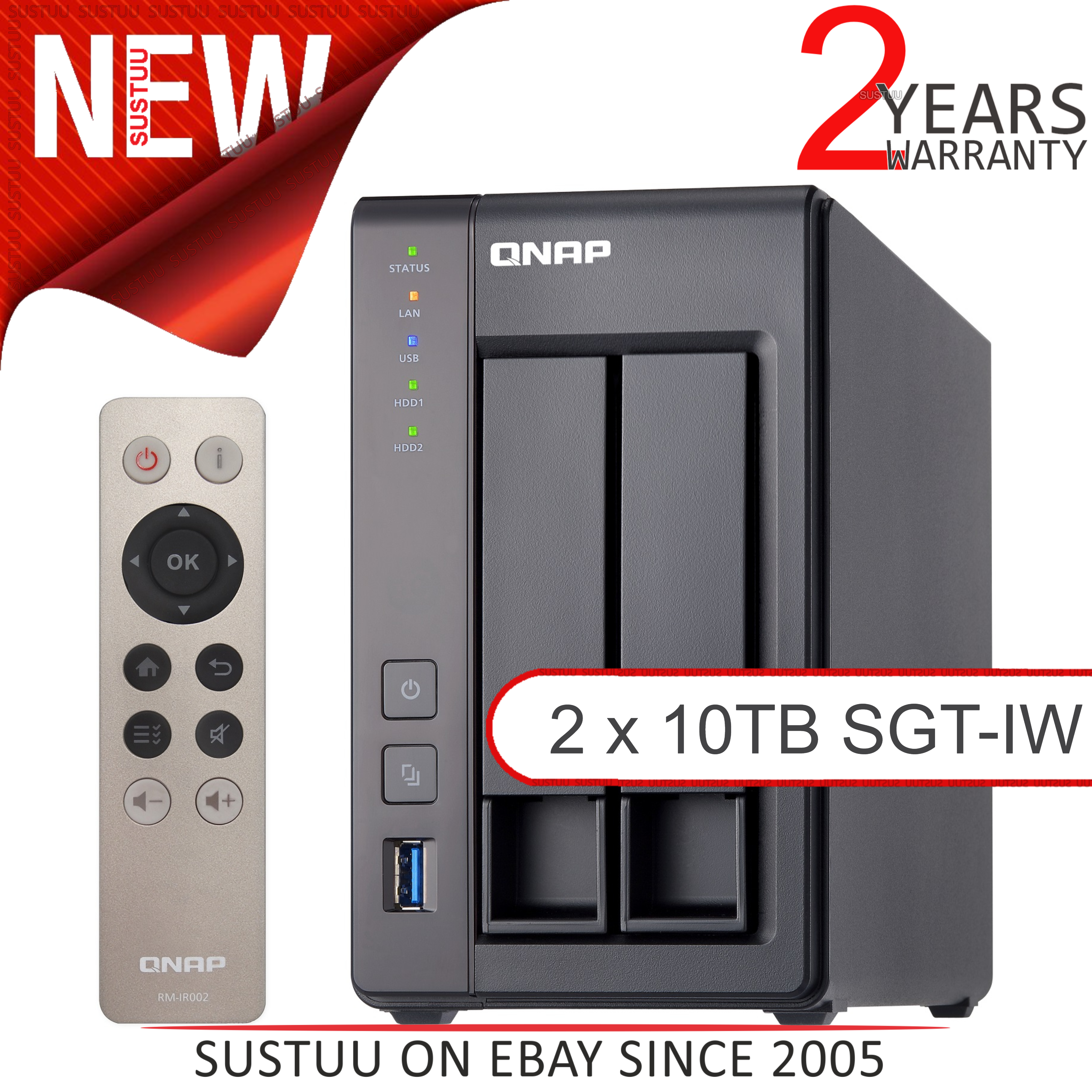 Details about QNAP 2 Bay Desktop NAS Unit│20TB SGT-IW Hard Drives│Storage  Device with 8GB RAM