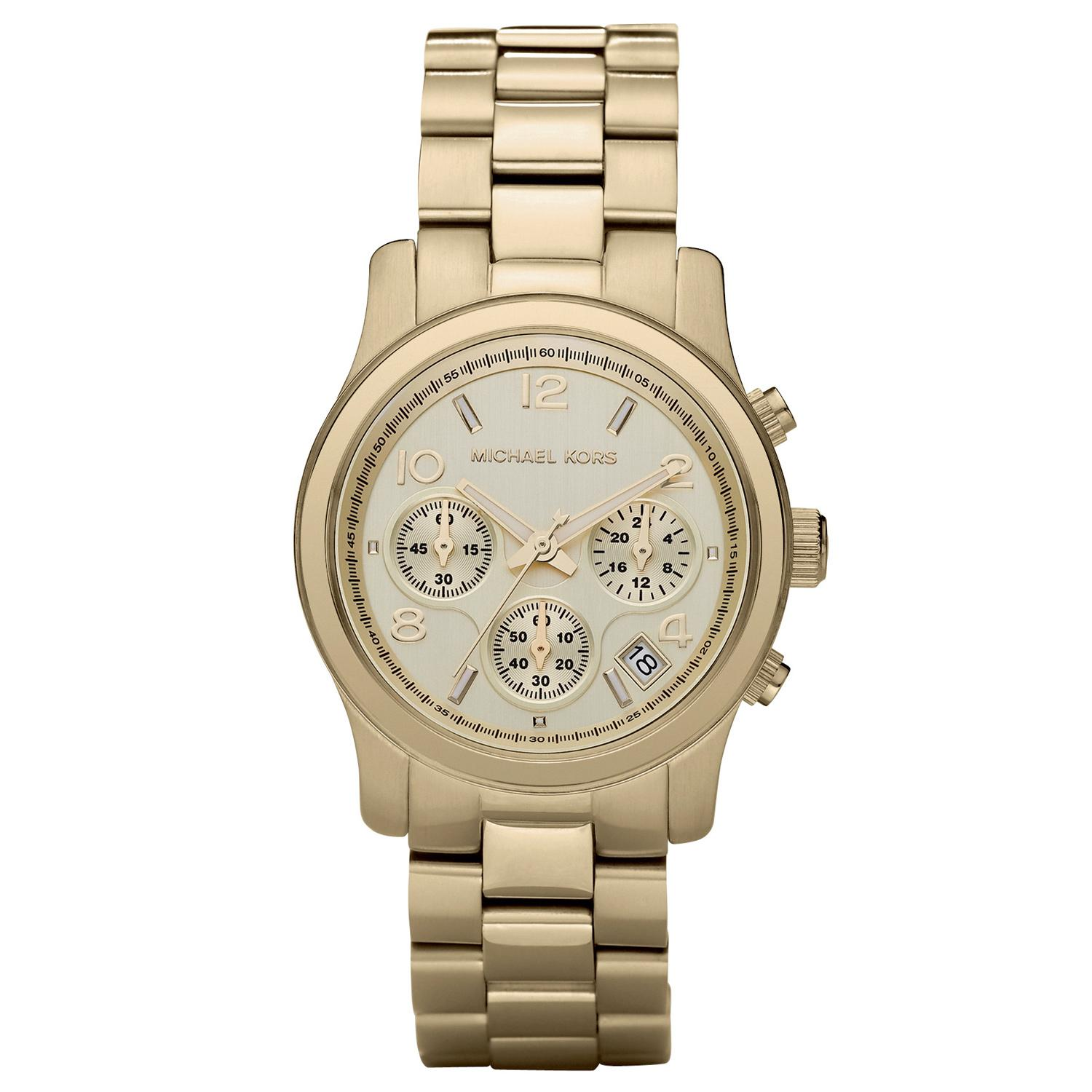 michael kors ladies runway champagne gold tone chronograph designer watch mk5055 sustuu. Black Bedroom Furniture Sets. Home Design Ideas