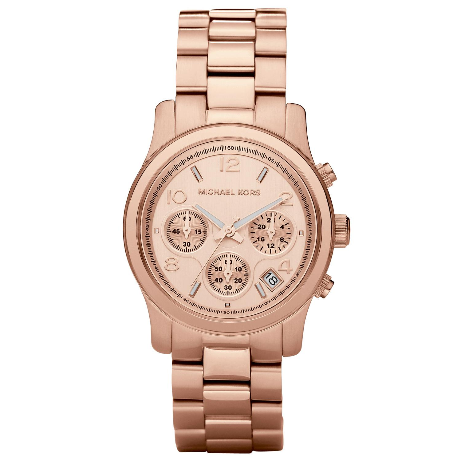 michael kors ladies womans rose gold runway chronograph