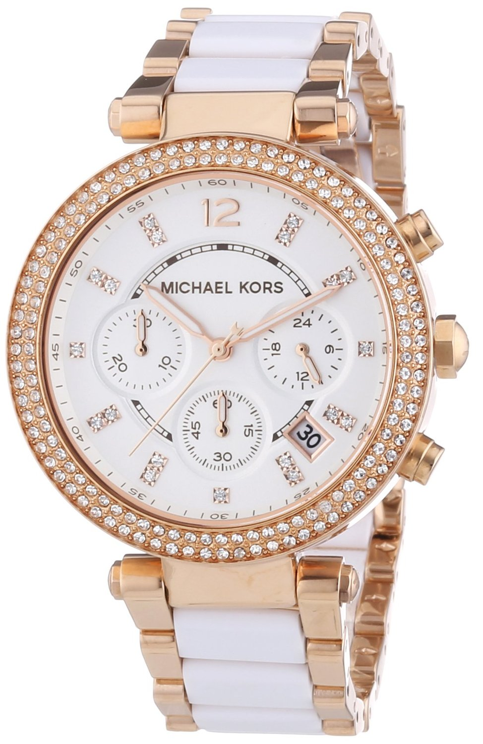 michael kors damen parker rosegold keramic chronograph designer armbanduhr ebay. Black Bedroom Furniture Sets. Home Design Ideas