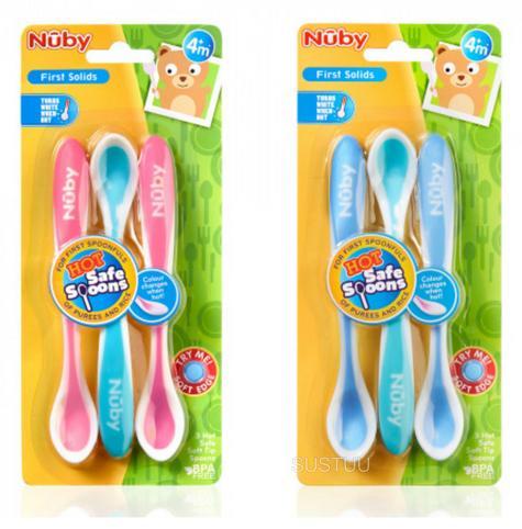 Nuby Baby Feeding Soft Edge Sensitive Infant Heat Sensor Spoons 4m+ Pink Or Blue Thumbnail 5