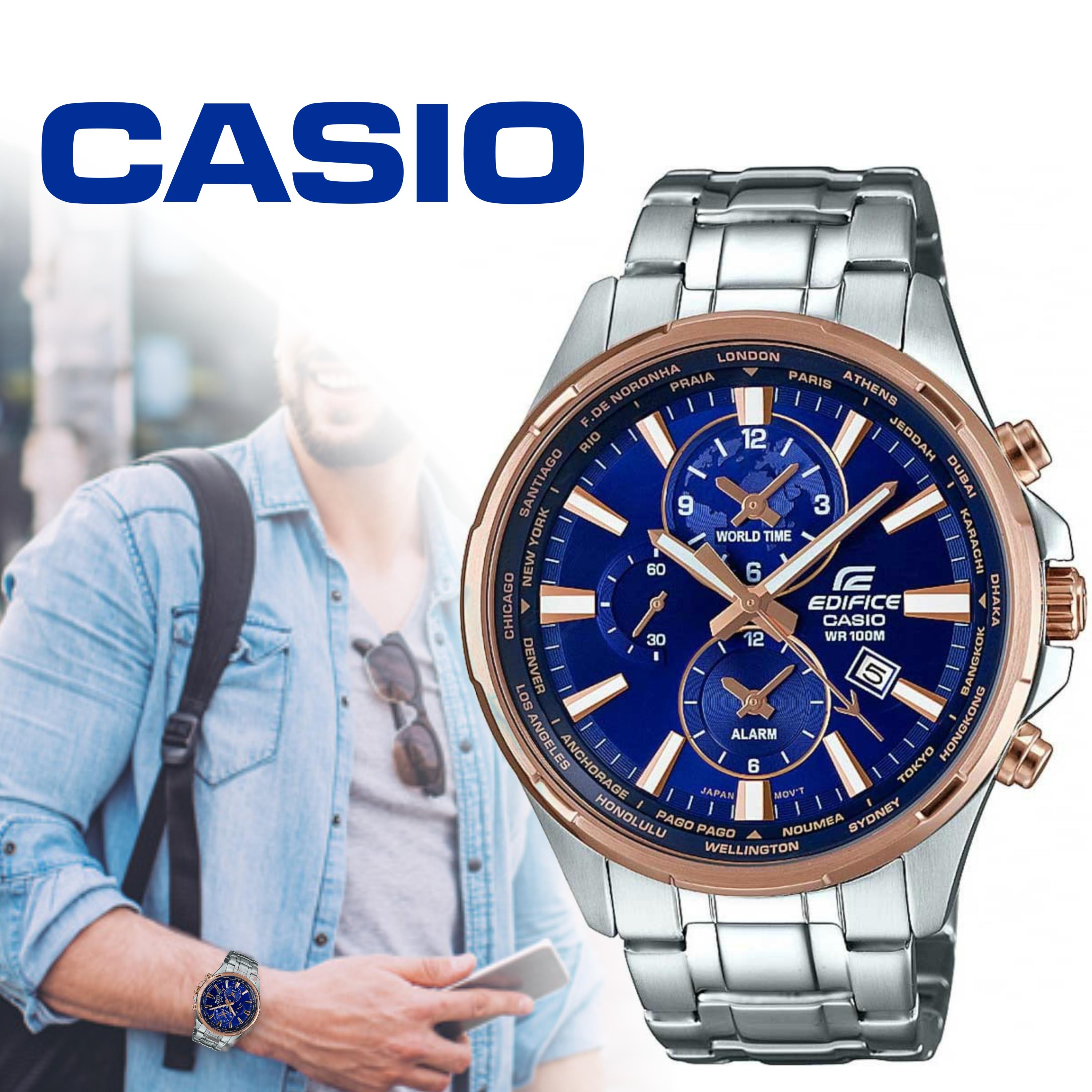 Casio Edifice Men S Worldtime Casual Watch Two Tone Blue Dial Efr