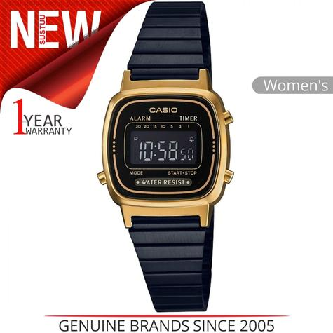 Casio Ladies' Digital Watch?Gold Plated Retro Shape-Black Dial?LA670WEGB-1BEF Thumbnail 1