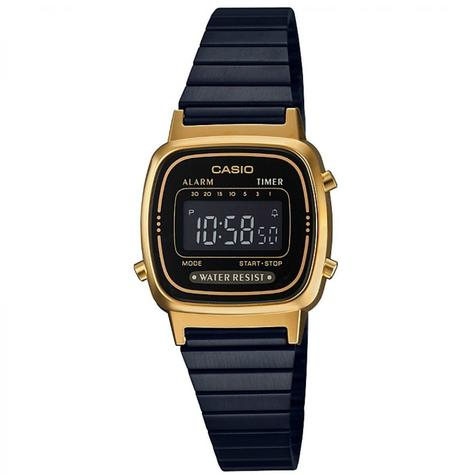 Casio Ladies' Digital Watch?Gold Plated Retro Shape-Black Dial?LA670WEGB-1BEF Thumbnail 2