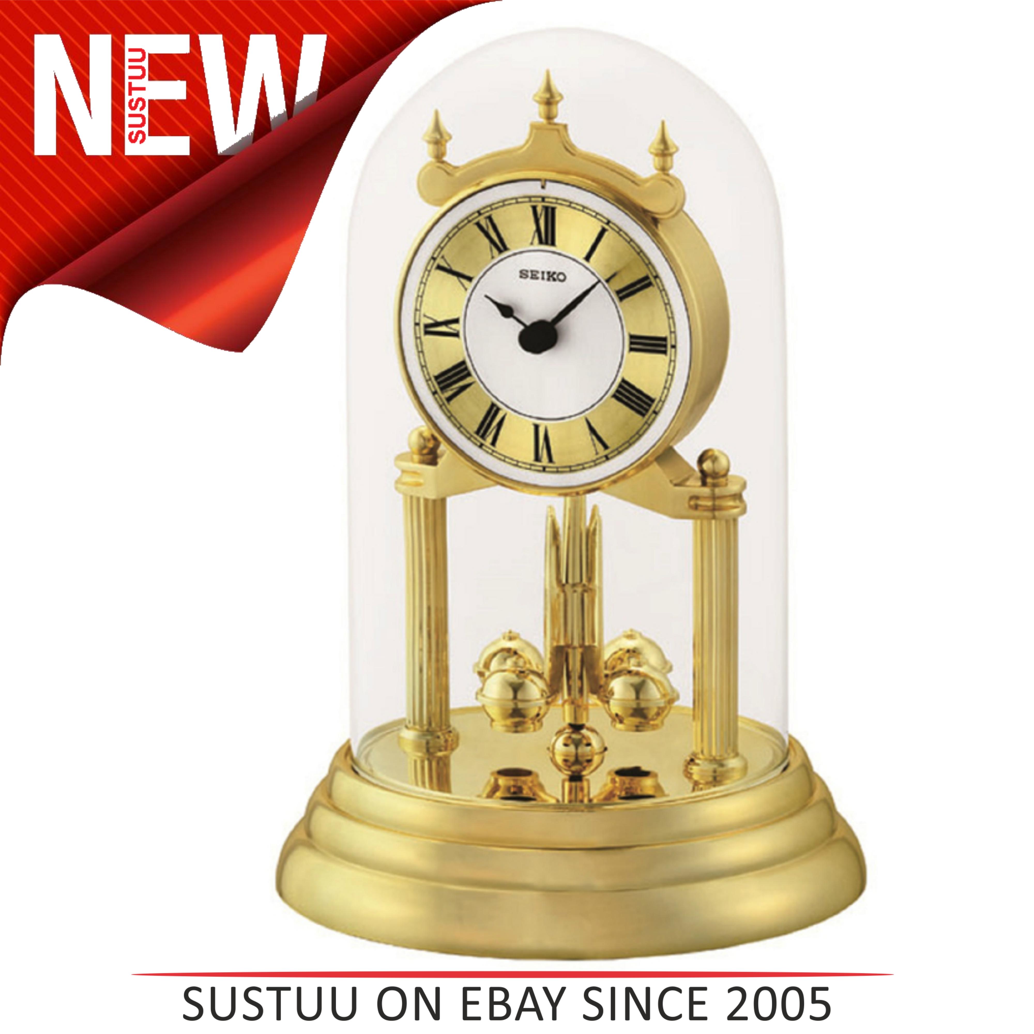 Sentinel Seiko Qhn006g Table Desk Anniversary Ogue Clock Rotating Pendulum White Gold