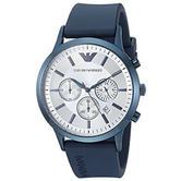 Emporio Armani Renato Men's Silver Dial Blue Silicone Strap Chrono Round Watch