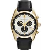 Armani Men's Sportivo Men's Gold Chrono Dial Black Leather Strap Watch AR6006