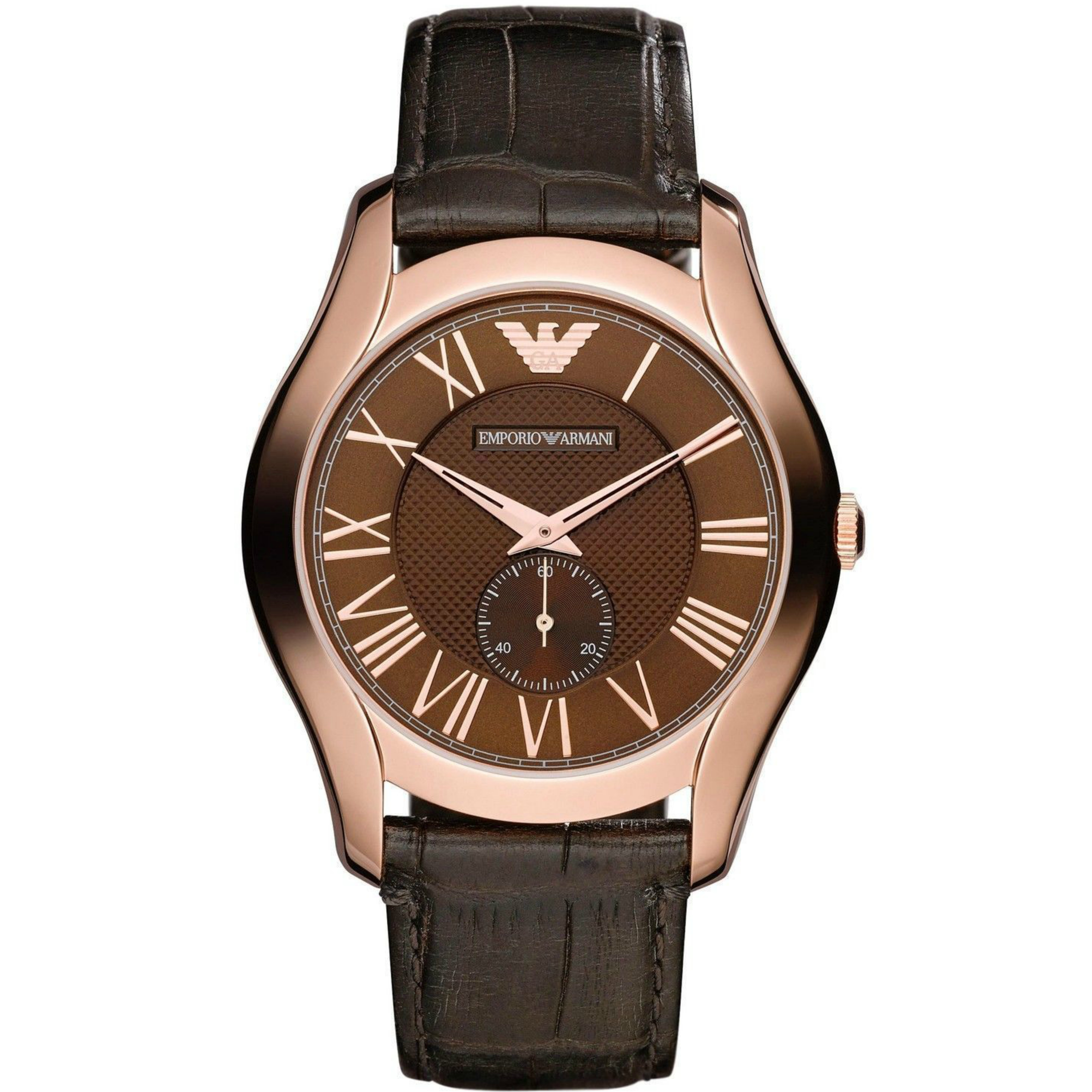 b413b9f37816c Details about Emporio Armani Classic Men s Watch│Bronze Dial│Brown Croco  Leather Strap│AR1705