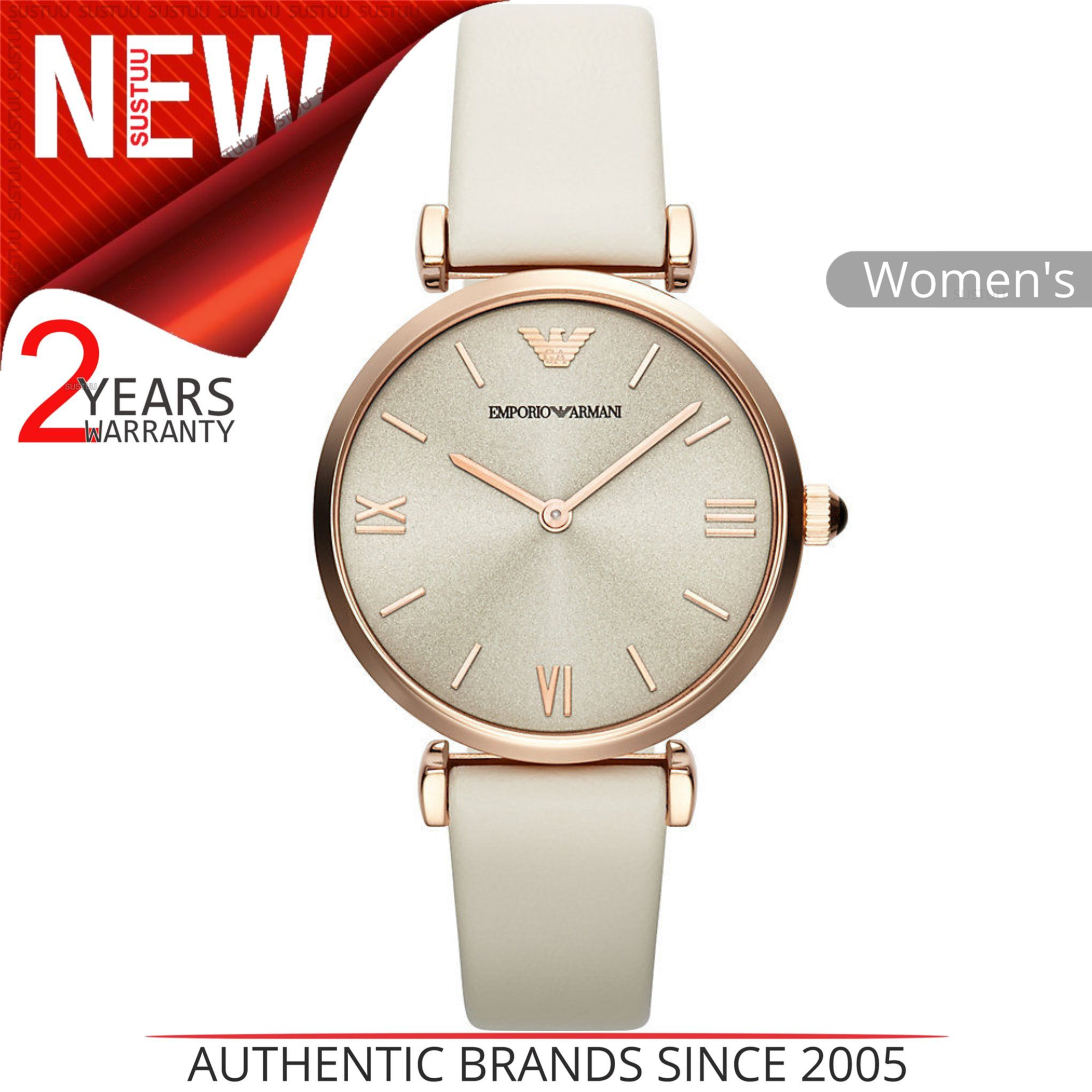 26ef1016 Emporio Armani Classic Ladies Watch | Silver Round Dial | White Leather  Strap | AR1769