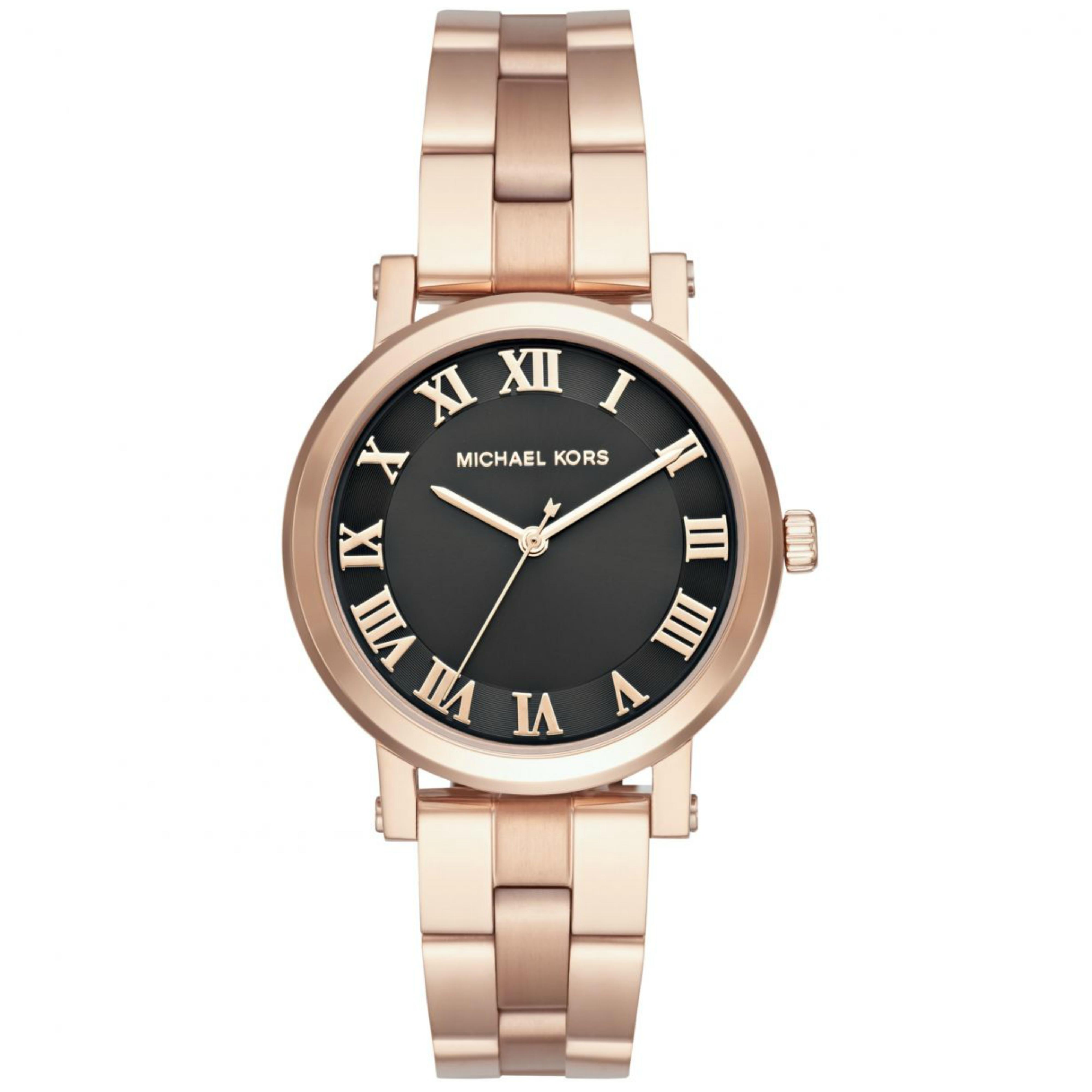 b42d51b19df5 Michael Kors Norie Ladies Black Dial Rose Gold Tone Stainless Steel Watch  MK3585