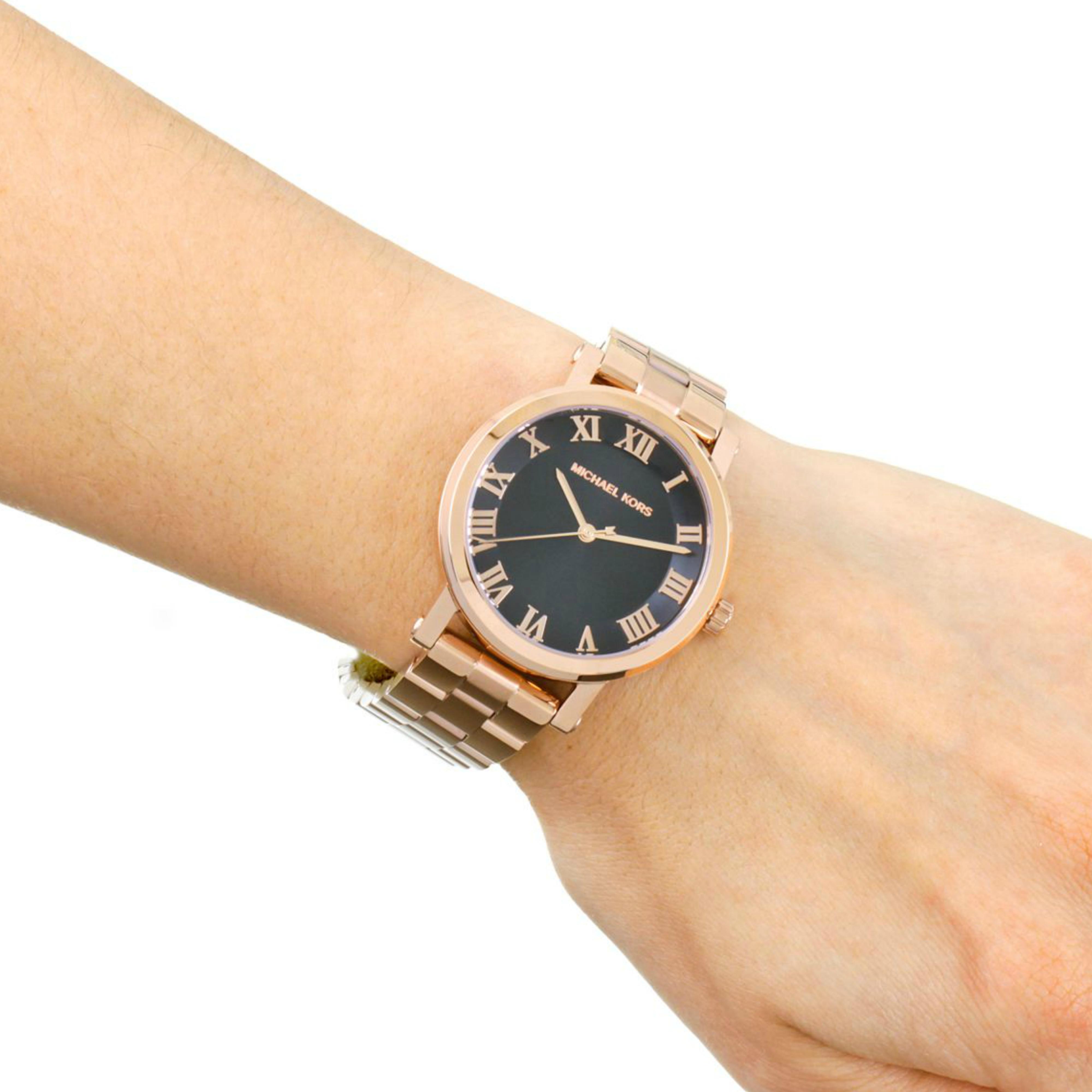 3bfff50adf4c Michael Kors Norie Ladies Black Dial Rose Gold Tone Stainless Steel Watch  MK3585 Thumbnail 8