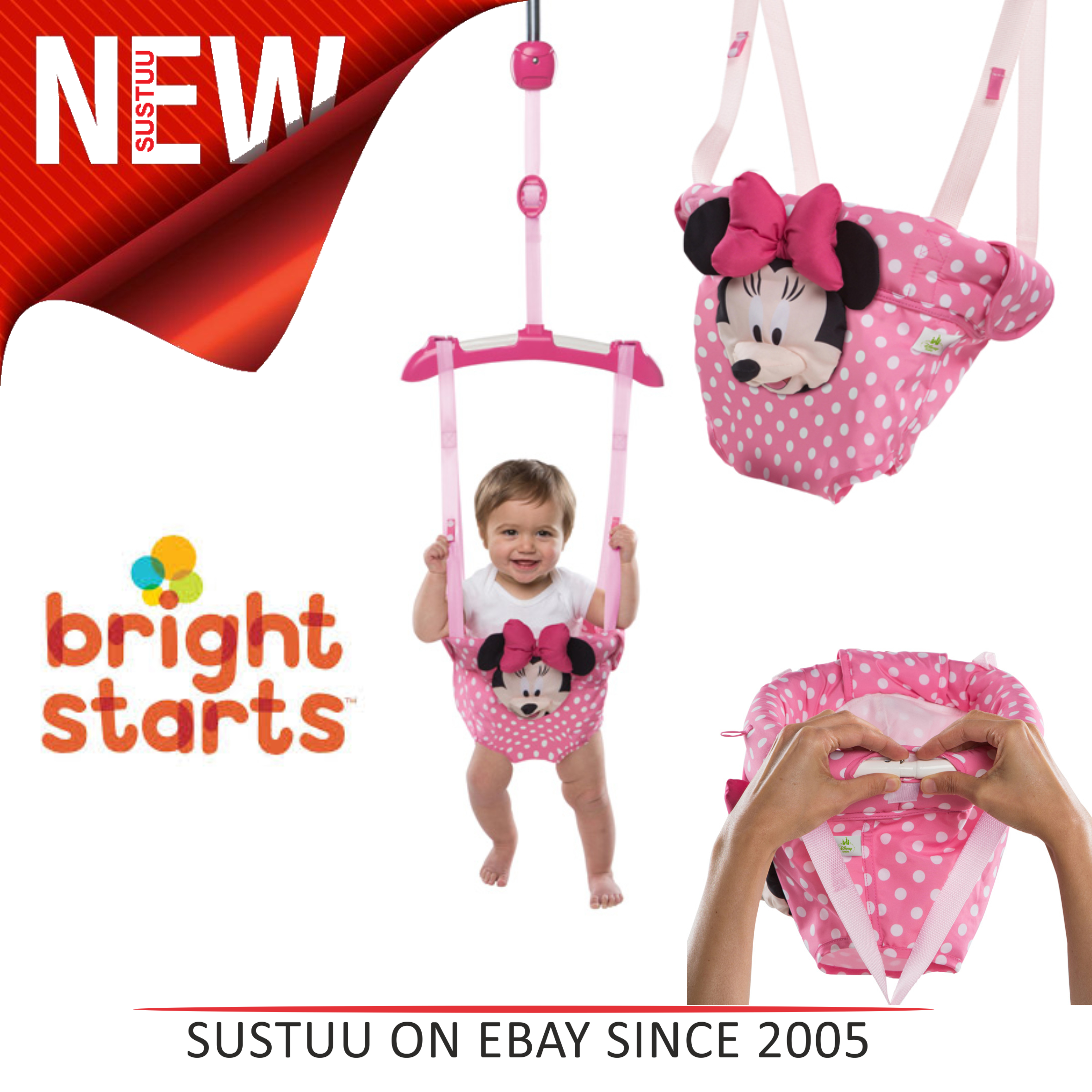 dc0898555db7 Bright Starts Disney Baby Minnie Mouse Door Jumper Bouncer│Padded ...