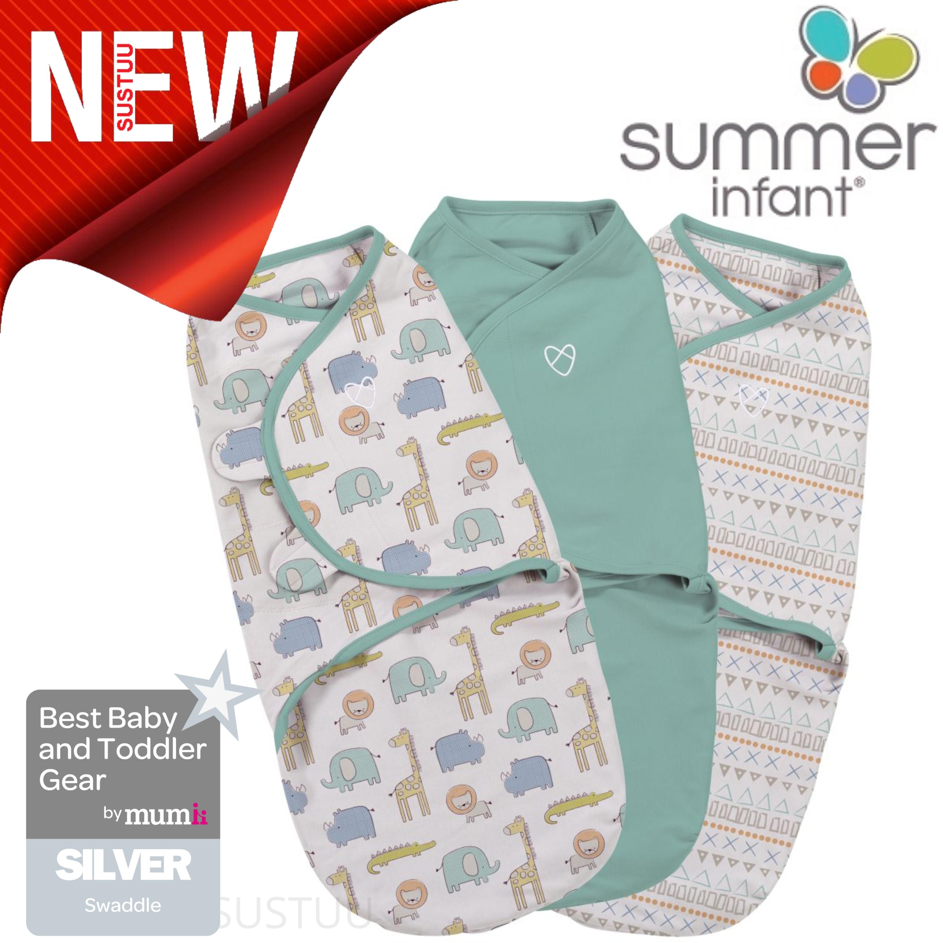f31dd91bad Details about Summer Infant SwaddleMe Original Sketchy Safari│Adjustable│Hook    Loop Use│3Pk