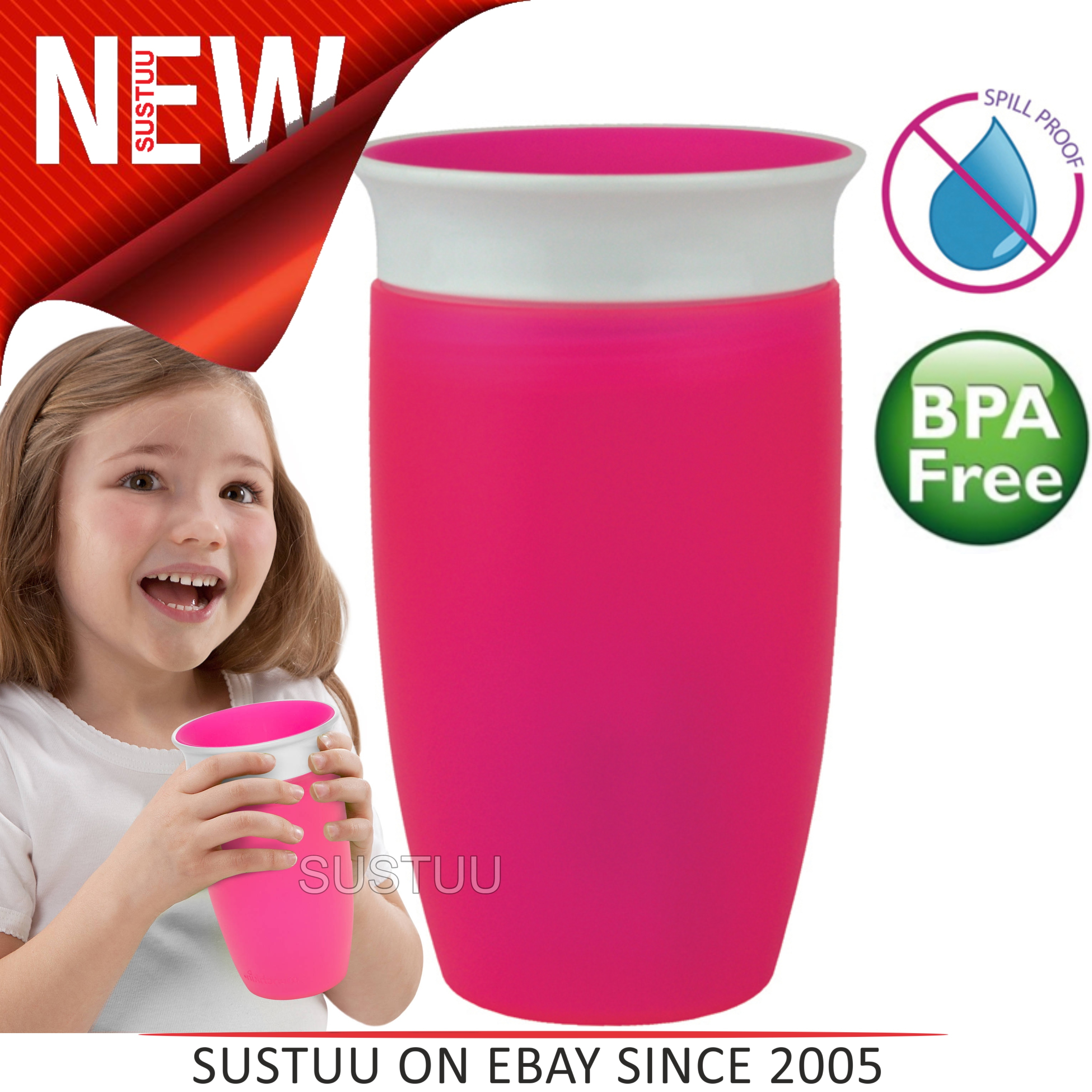 Munchkin Baby Miracle Non-Spill 360°Leak/Seal Proof Toddler Sippy Cup 296ml?Pink