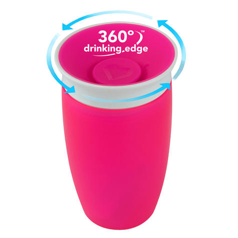 Munchkin Baby Miracle Non-Spill 360°Leak/Seal Proof Toddler Sippy Cup 296ml?Pink Thumbnail 3
