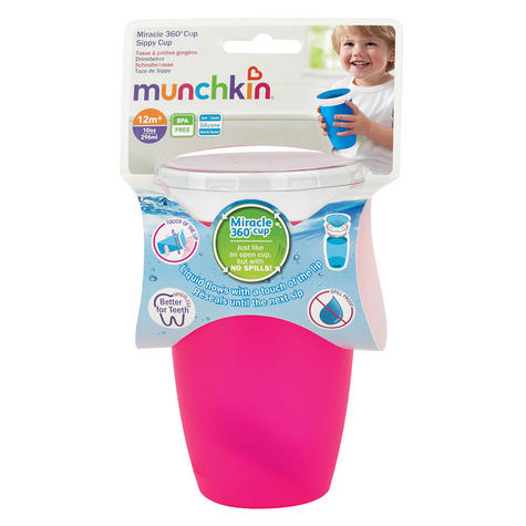 Munchkin Baby Miracle Non-Spill 360°Leak/Seal Proof Toddler Sippy Cup 296ml?Pink Thumbnail 4
