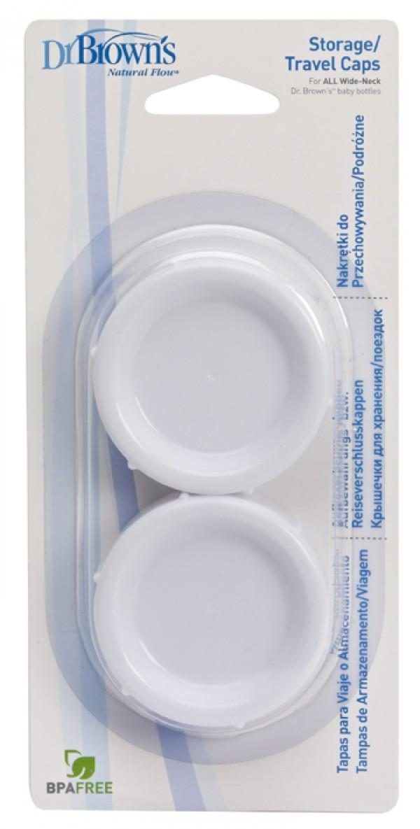 Dr Brown's No Spill Formula Breast Milk Secure Storage Travel Caps 2 Pack DB680