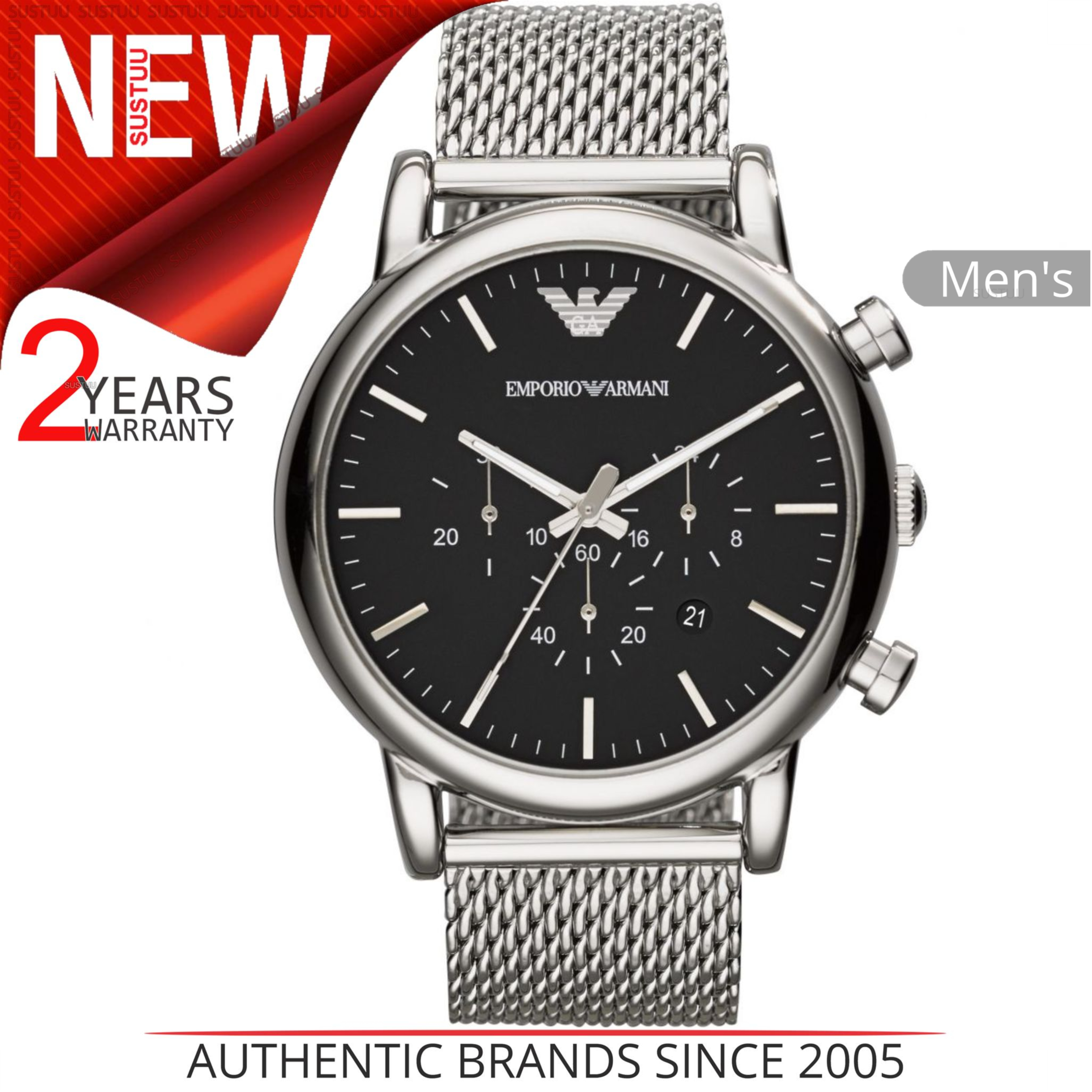 397091fabc5 Sentinel Emporio Armani Classic Men s Watch│Chronograph Black  Dial│Stainless Steel│AR1808