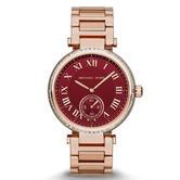 Michael Kors Skylar Ladies Red Dial Rose Gold Steel Case Bracelet Watch MK6086