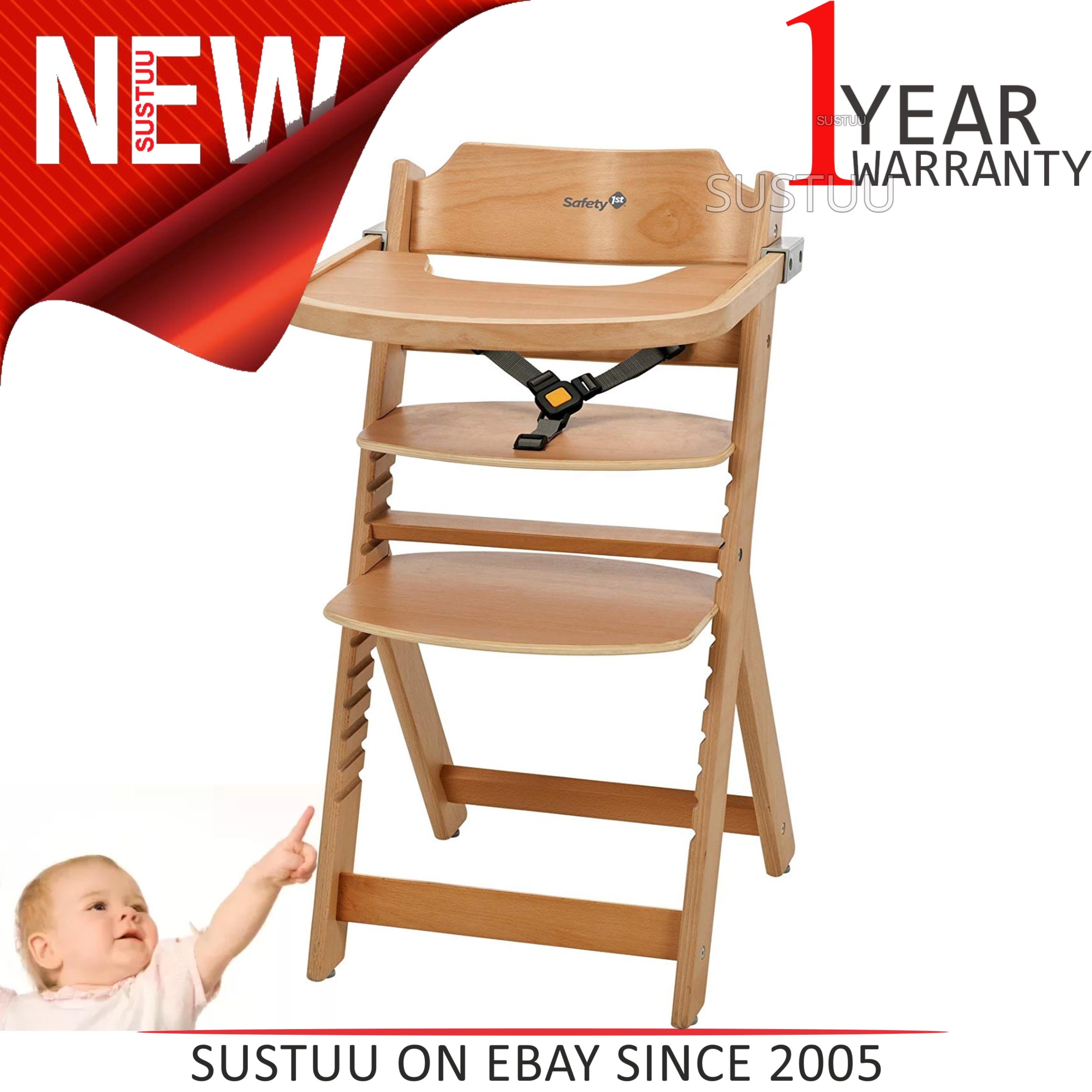 6c58f5e011d3 Details about Safety 1st Timba Wooden Highchair│Toddler/Kid's Mealtime Fun  With Safty Harness